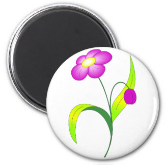 Pink blooming flower 6 cm round magnet
