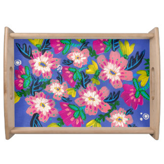 Pink Blooms Large Serving Tray
