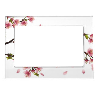 pink blooms magnetic photo frame