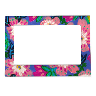 "Pink Blooms Magnetic Picture Frame- 5x7"" Magnetic Picture Frame"