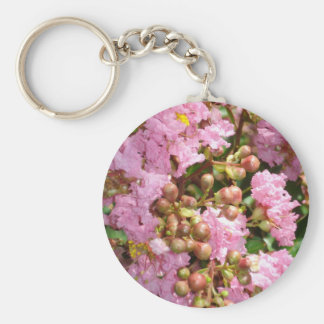 pink blossom basic round button key ring