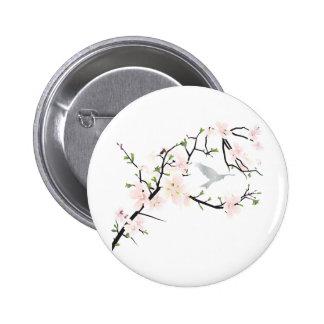 Pink Blossom Bird Pinback Buttons