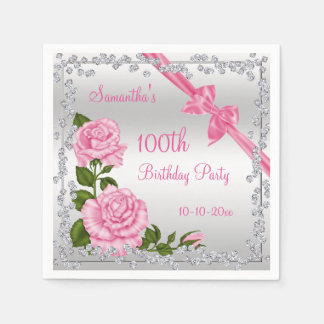 Pink Blossom, Bows & Diamonds 100th Disposable Napkin