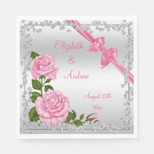 Pink Blossom, Bows & Diamonds Wedding Disposable Napkins