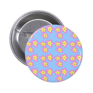 Pink blossom on blue 6 cm round badge