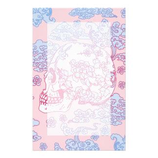 Pink Blossom Skull Stationery