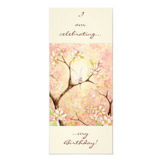Pink Blossom View, 10 Cm X 24 Cm Invitation Card