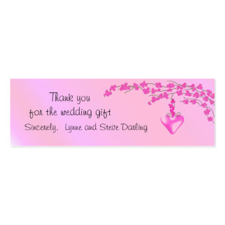 Pink Blossom Wedding Thank You Pack Of Skinny Business Cards