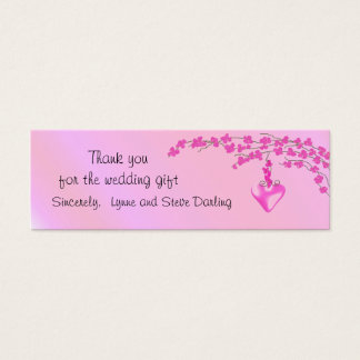 Pink Blossom Wedding Thank You Mini Business Card