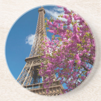 Pink Blossoming Tree Below The Eiffel Tower Drink Coasters
