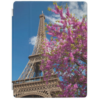 Pink Blossoming Tree Below The Eiffel Tower iPad Cover