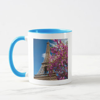 Pink Blossoming Tree Below The Eiffel Tower Mug