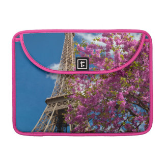Pink Blossoming Tree Below The Eiffel Tower Sleeve For MacBook Pro