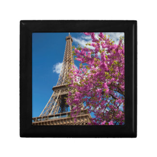Pink Blossoming Tree Below The Eiffel Tower Small Square Gift Box
