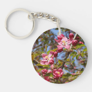 Pink Blossoms Double-Sided Round Acrylic Key Ring