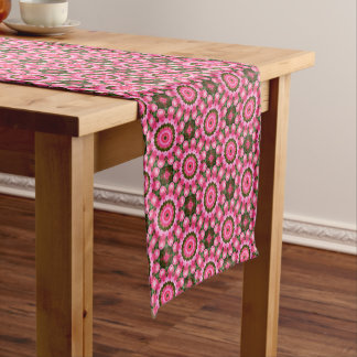 Pink Blossoms, Floral mandala-style Short Table Runner