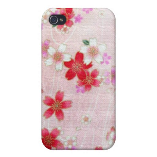 PINK BLOSSOMS KIMONO PRINT CASE FOR iPhone 4