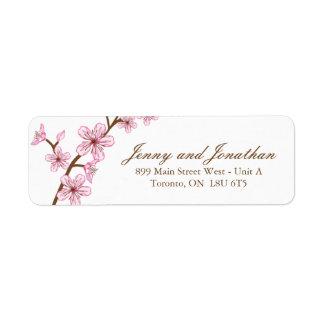 Pink Blossoms RSVP Address Labels