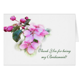 Pink Blossoms Watercolor Bridesmaid Note Card