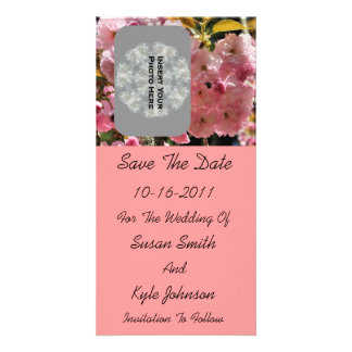 Pink Blossoms Wedding Save The Date Photo Card