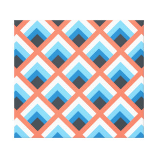 Pink Blue Abstract Geometric Designs Color Canvas Print
