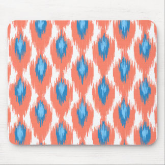 Pink Blue Abstract Tribal Ikat Diamond Pattern Mousepads