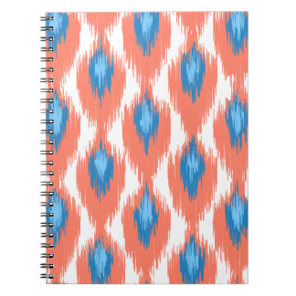 Pink Blue Abstract Tribal Ikat Diamond Pattern Note Book