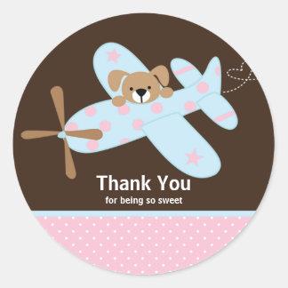 Pink & Blue Aeroplane Thank You Baby Shower Sticke Stickers