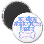 Pink & Blue American Staffordshire Terrier Fridge Magnet