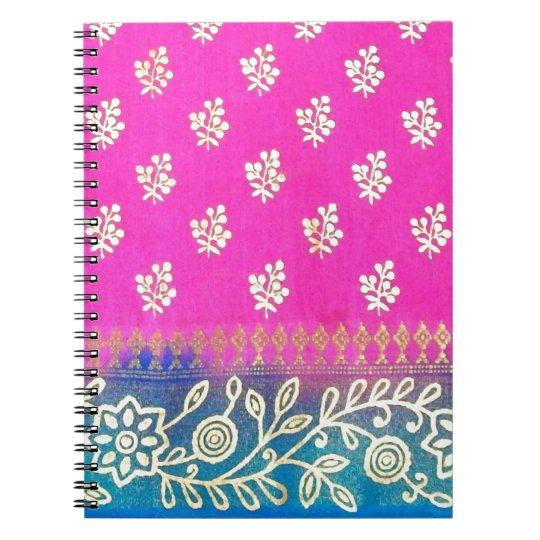 Pink Blue and Gold Sari Art Notebook