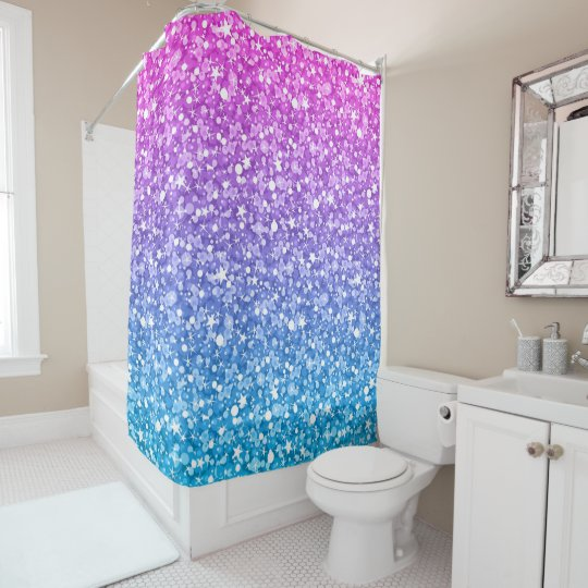 Pink Blue And Purple Glitter Shower Curtain