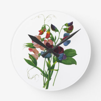 Pink Blue and Purple Sweet Peas by Redoute Round Clock