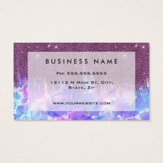 Pink, Blue, and Purple Watercolor and Faux Glitter Business Card