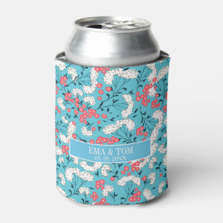 Pink Blue And White Floral Pattern- Save The Date Can Cooler