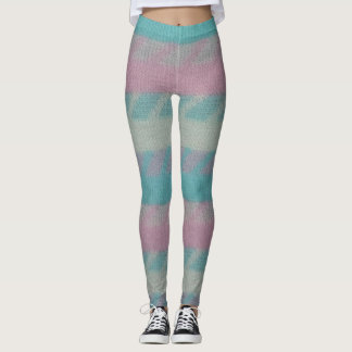 Pink Blue and White Pastel Leggings