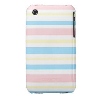 Pink, Blue, and Yellow Striped iPhone 3 Cover
