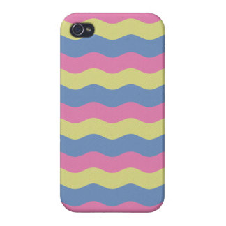 Pink, blue and yellow waves cases for iPhone 4