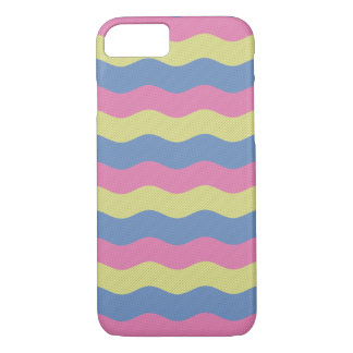 Pink, blue and yellow waves iPhone 7 case