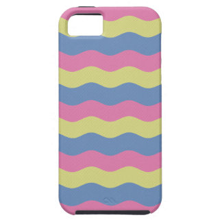 Pink, blue and yellow waves tough iPhone 5 case