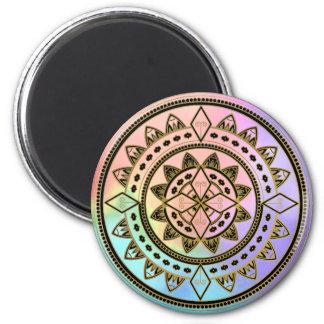 Pink-Blue-Aqua-Purple Mandala 6 Cm Round Magnet
