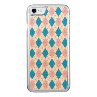 Pink blue argyle pattern carved iPhone 8/7 case