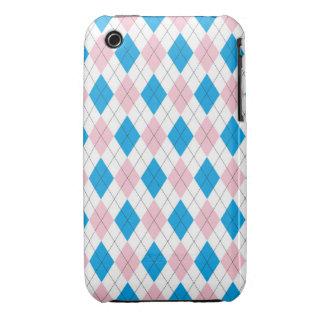 Pink blue argyle pattern Case-Mate iPhone 3 case