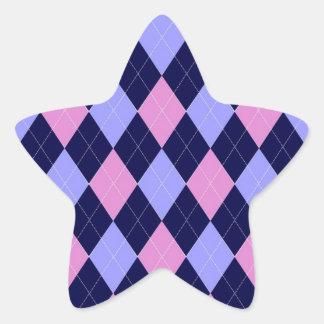 Pink, blue argyle pattern star sticker