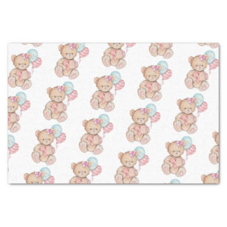 Pink & Blue Balloons & Teddy Bear Baby Girl Tissue Paper