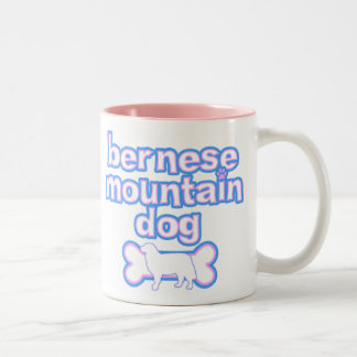 Pink & Blue Bernese Mountain Dog Two-Tone Coffee Mug