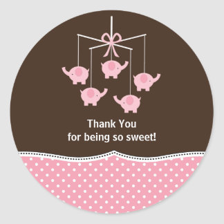 Pink Blue & Brown Elephant Mobile Thank You Stickers