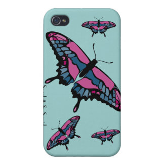 Pink & Blue Butterfly iPhone 4 Case