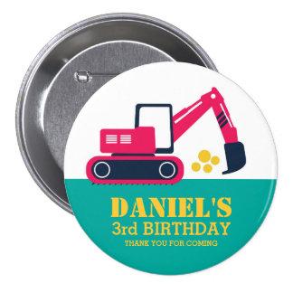 Pink Blue Cartoon Excavator Kids Birthday Button