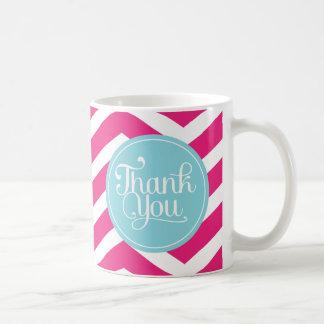Pink Blue Chevron Thank You Basic White Mug