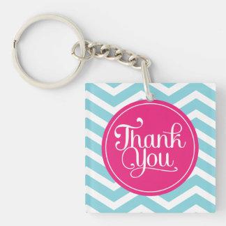 Pink Blue Chevron Thank You Acrylic Key Chains